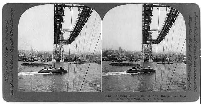 Showing construction of new bridge over East River, New York, N.Y. [Williamsburg Bridge]