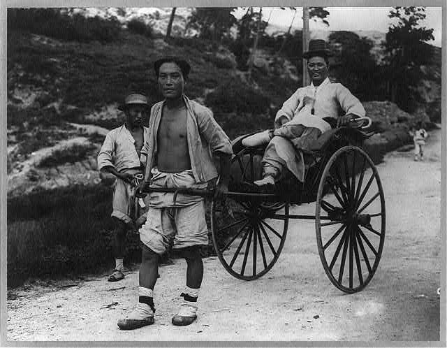 Native aristocrat of the old school in his rickshaw after the fall of the government, Korea