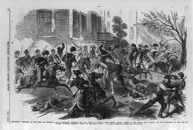 Lieutenant Tompkins, at the head of Company B, U.S. Dragoons, charging into town at Fairfax Court House, killing thirty of the enemy and carrying off five prisoners, in the face of fifteen hundred secession troops, on Saturday, June 1, 1861