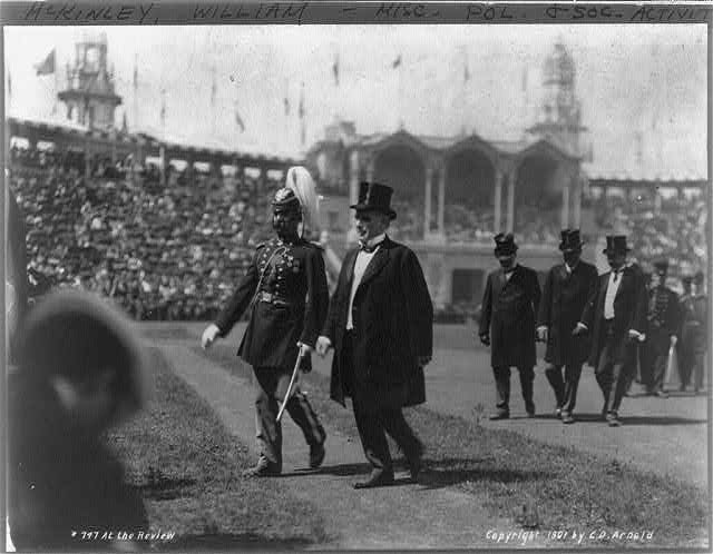 [Pres. McKinley walking with other men at the Revue at the Pan-American Exposition, Buffalo, N.Y.]