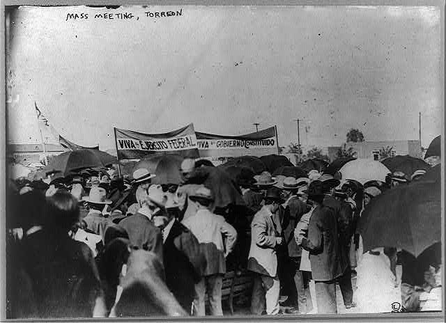 Mexico - Torreon. Mass meeting for Federals.