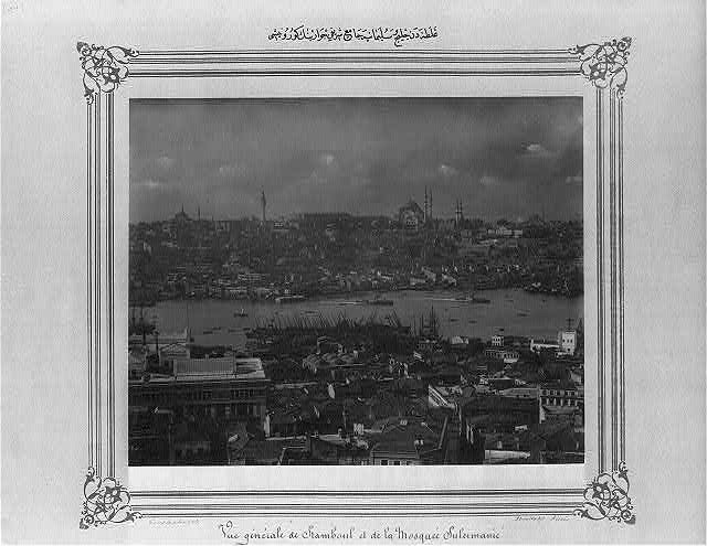 [View of the vicinity of Süleymaniye Camii (mosque) and of the Golden Horn from Galata]