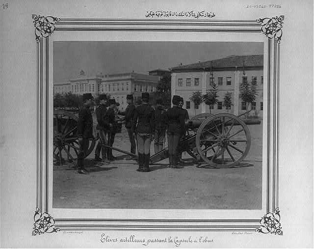 [Drill of the students of Tophane school (Imperial School of Artillery), loading shells]