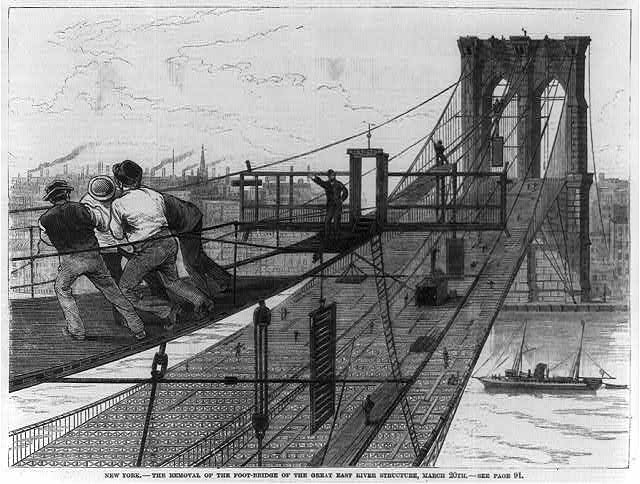 New York - the removal of the foot-bridge of the great East River structure, March 20th, [1882]
