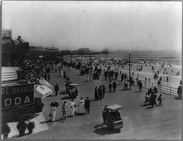 Boardwalk and bathers, Atlantic City, N.J.