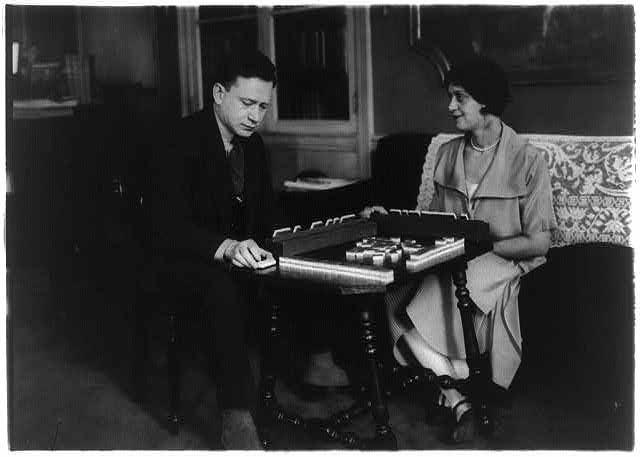 Alma Gluck and her husband playing mahjong, March 4, 1924?