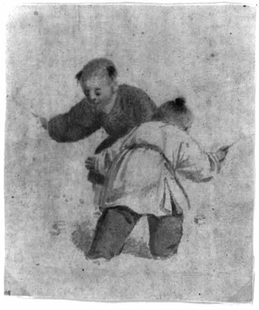 [Two Chinese boys playing with spinning tops]