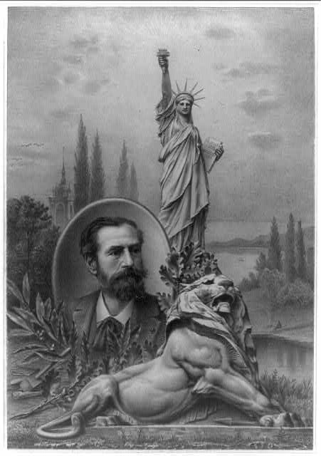 [Statue of Liberty, sculpture of lion, and inset portrait of sculptor Frédéric Auguste Bartholdi]
