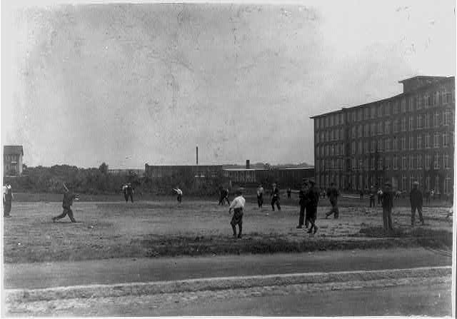 Kerr Thread. Young workers on Ball Ground at noon. Two leagues - Junior and Senior.  Location: Fall River, Massachusetts