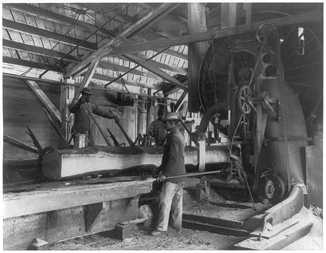 [Three young black men working in lumber mill at Hampton Institute, Hampton, Va.]