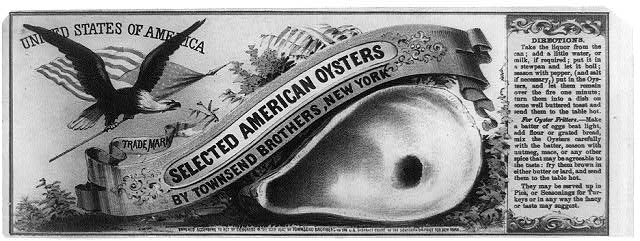 Selected American Oysters by Townsend Brothers, New York