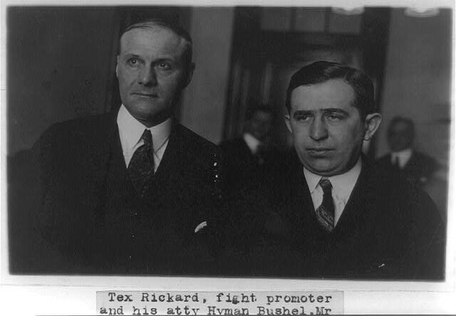 Tex Rickard, fight promoter, and his atty. Hyman Bushel in Washington to testify before the Senate Committee investigating Atty. Gen. Daugherty in regard to fight films