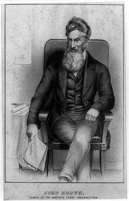 [John Brown, three-quarter length portrait, facing left, holding New York Tribune]
