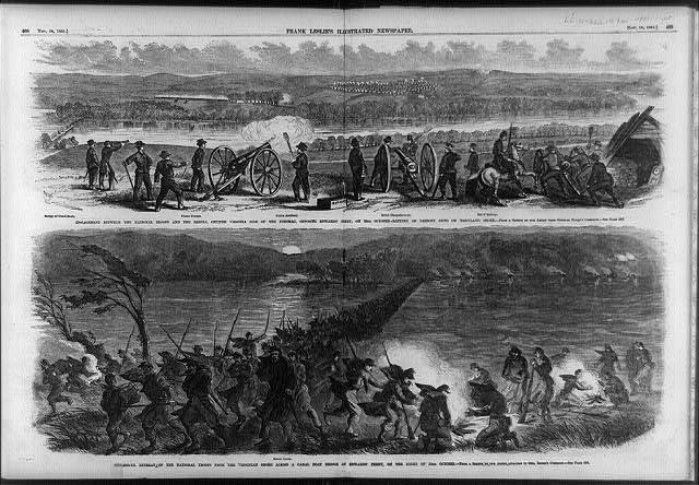 Two illustrations: 1. Engagement between the National troops and the Rebels, on the Virginia side of the Potomac, opposite Edward's Ferry, on 22nd October - battery of parrott guns on Maryland shore; 2. Successful retreat of the National troops from the Virginian shore across a canal boat bridge at Edward's Ferry, on the night of 23rd October