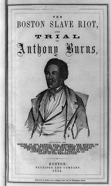 [Title page of Boston slave riot, and trial of Anthony Burns with half-length portrait of Anthony Burns]