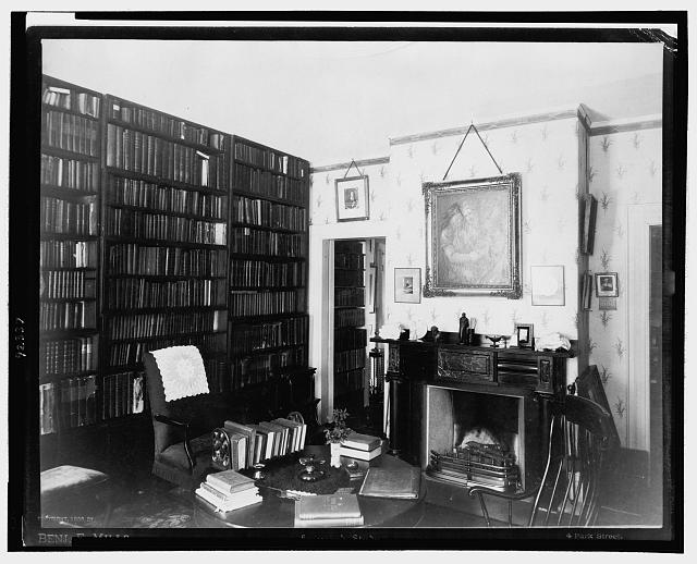 Emerson's study [showing shelves of books, fireplace and desk]