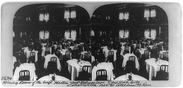 "Dining room of the Café Martin ""Old"" Delmonico, New York City"