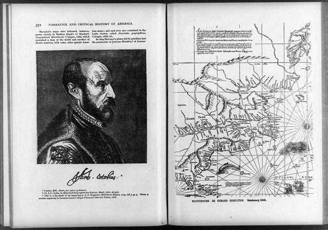 [Two illustrations--head-and-shoulders portrait of Gerhard Mercator, facing right; and 1569 world map, drawn by Mercator]