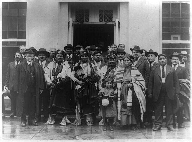 [Group of Osage Indians posed outside the White House]
