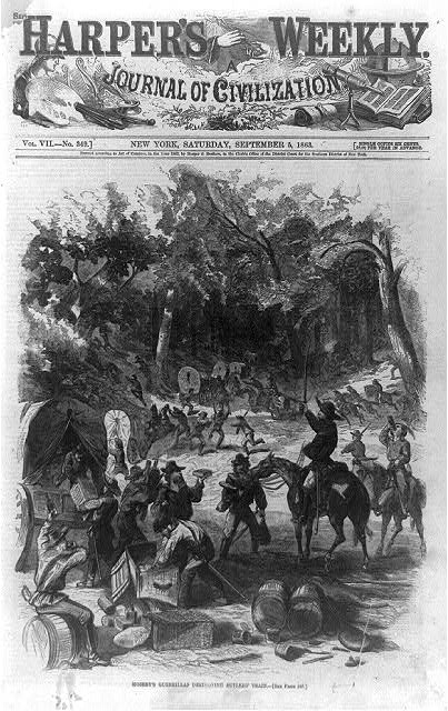 [Title page of Harper's weekly, September 5, 1863, showing Mosby's guerrillas destroying sutlers' train]