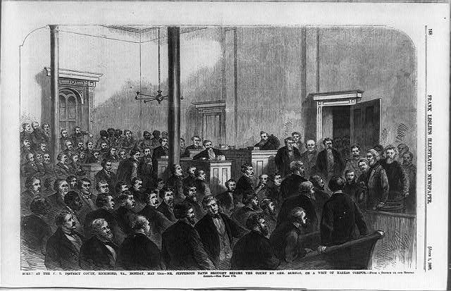 Scene at the U.S. District Court, Richmond, Va., Monday, May 13th - Mr. Jefferson Davis brought before the court by Gen. Burton, on a writ of habeas corpus