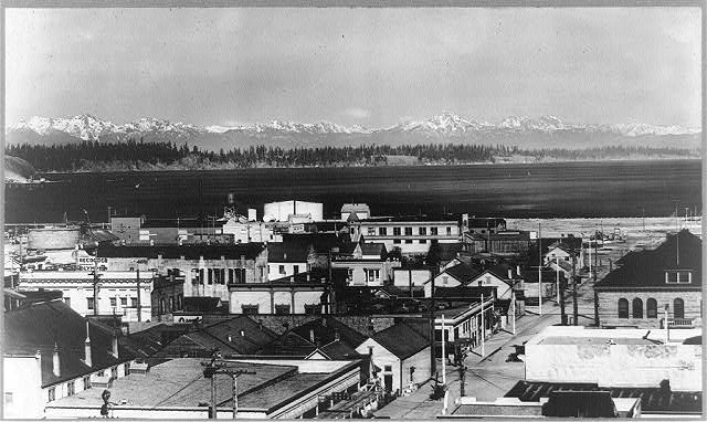 [Bird's-eye view of Olympia, Washington with snow-capped Olympic Range in background]