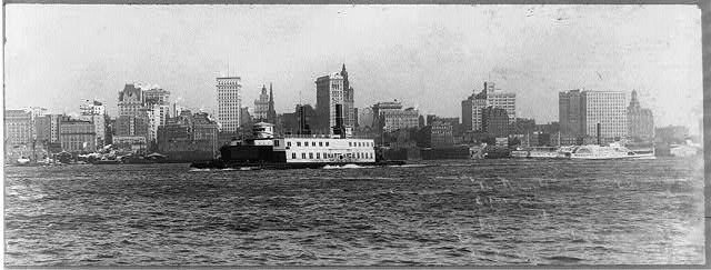 [Manhattan skyline from New Jersey, with ferry Maryland and side-wheeler Magenta in foreground]