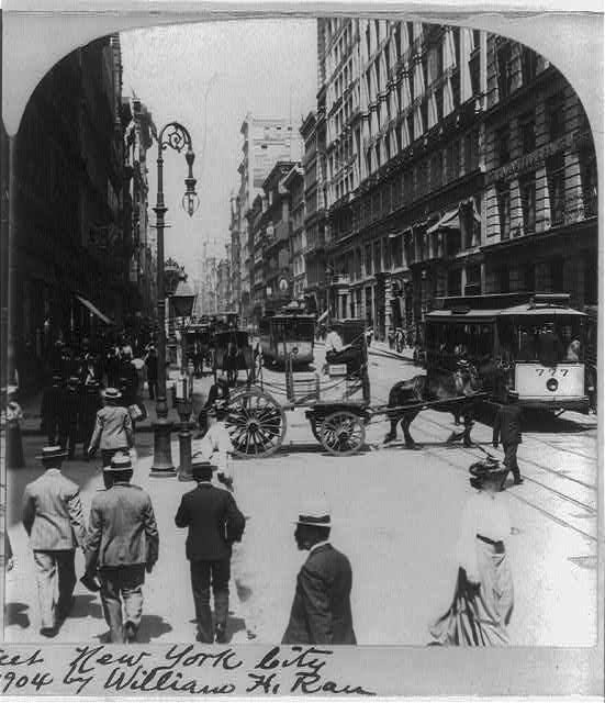 Busy Broadway, north from Prince Street, New York City