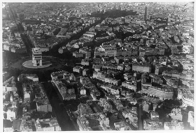 [Aerial view of Paris, France, from balloon, showing the Arc de Triomphe at left center]