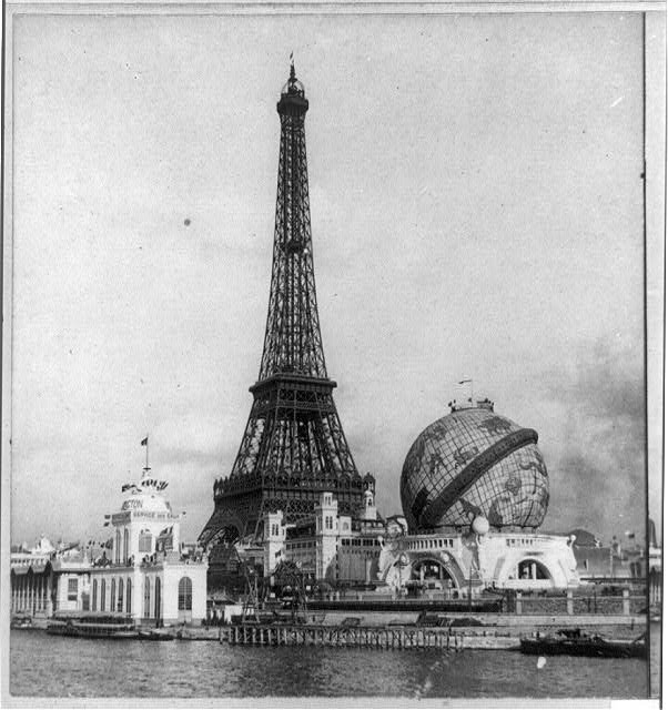 Forrestry [sic] Building and the globe from Point Passay, Paris Exposition, 1900