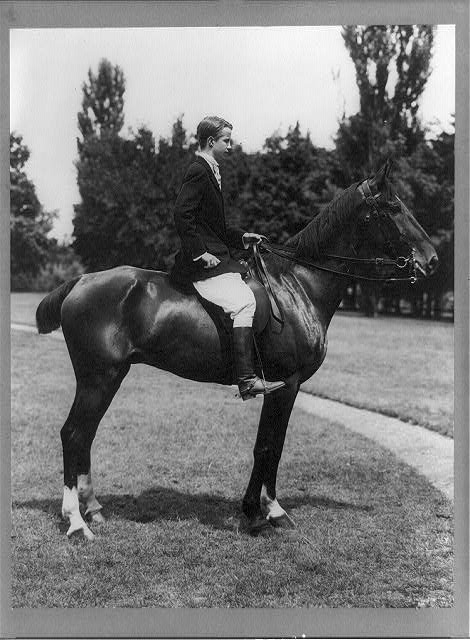 [Kermit Roosevelt, full-length, on horseback, right profile]