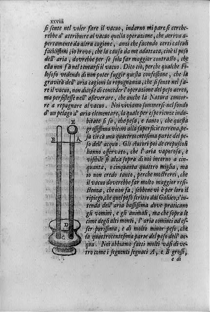 [Page in Lezioni accademiche; with early barometer created by Torricelli]