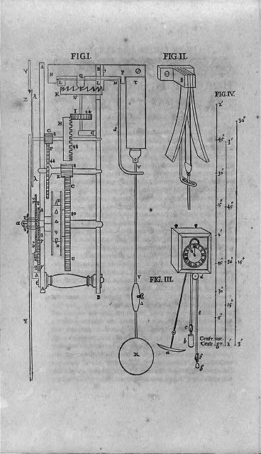 [Pendulum or oscillating clock mechanisms, showing escapement mechanism, curved metal strips to check swing of pendulum, and clock with pendulum and weights]