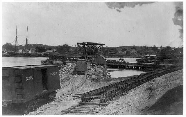 [Dock on the south side of the James River, opposite Richmond, Va.]