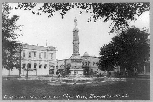 Confederate Monument and Skye Hotel, Bennettsville, S.C.