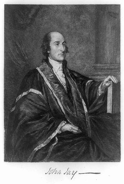 [John Jay, three-quarter length portrait, seated, facing right; left hand on upright book on table]