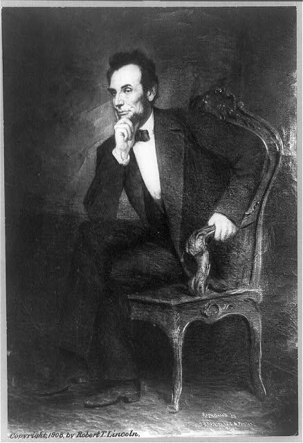 [Abraham Lincoln, full-length portrait, seated, facing left, right hand under chin]