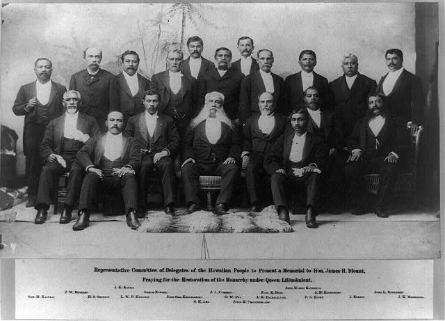 Representative Committee of Delegates of the Hawaiian People to present a memorial to Hon. James H. Blount, praying for the restoration of the monarchy under Queen Liliuokalani