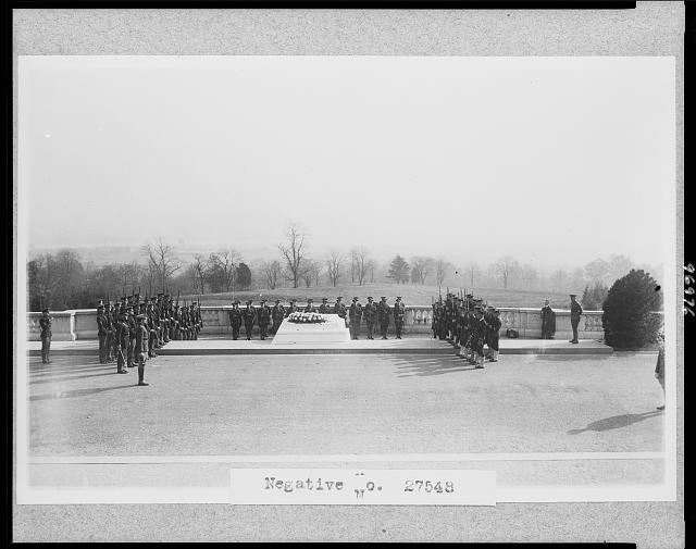 [Soldiers at ceremony around Tomb of Unknown Soldier, Arlington National Cemetery]