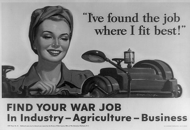 Poster showing head-and-shoulders of woman operating a machine as part of World War II production effort.