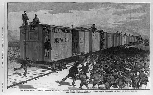 The great railway strike--attempt to start a freight train, under a guard of United States marshals, at East St. Louis, Illinois