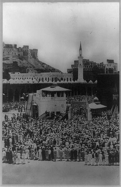 Moslems worshipping the shrines sacred to Islam, Mecca, Arabia