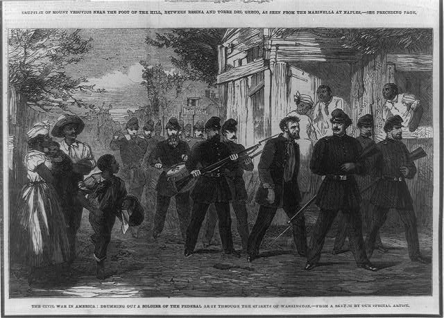 The Civil War in America--drumming out a soldier of the Federal Army through the streets of Washington