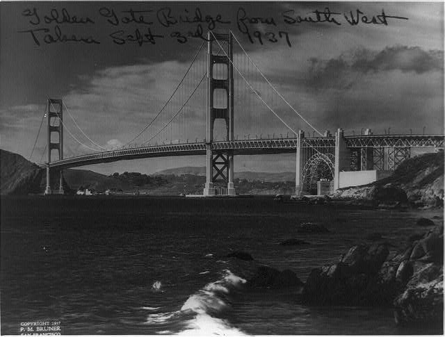 Golden Gate Bridge from southwest, 1937 Sept. 3rd.