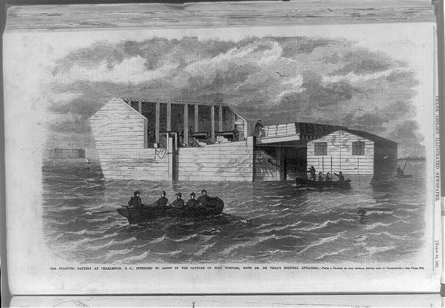 The Floating battery at Charleston, S.C., intended to assist in the capture of Fort Sumpter [sic], with Dr. De Vega's hospital attached - from a sketch by our special artist now in Charleston