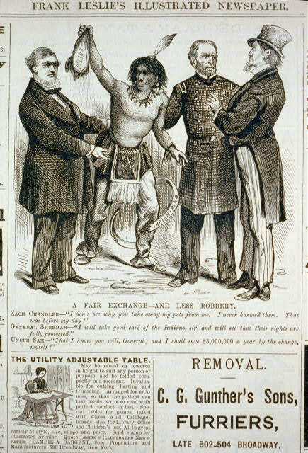 "A fair exchange - and less robbery [cartoon showing Indian holding scalp of Delano; Zach Chandler saying to Uncle Sam, ""I don't see why you should take my pets away from me ...""; Gen. Sherman saying to Uncle Sam, ""I will take good care of the Indians, sir, ...""; Uncle Sam, ""That I Know ...""]"