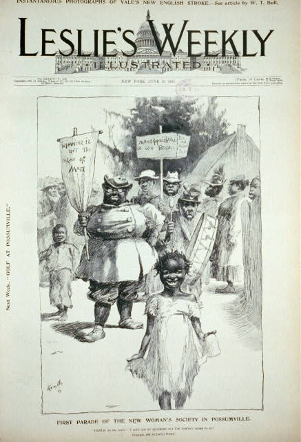 First parade of The New Woman's Society in Possumville [caricature of black women demonstrating for equal rights]