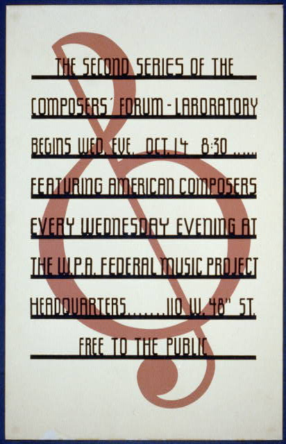 The second series of the composers' forum Laboratory begins Wed. eve., Oct 14, 8:30 : Featuring American composers every Wednesday evening at the W.P.A. Federal Music Project Headquarters.