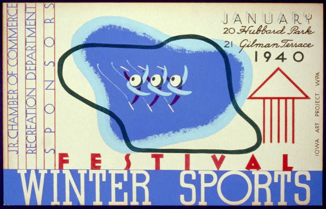 Poster announcing winter sports festival to be held at Hubbard Park on January 20 and at Gilman Terrace on the 21st, showing three stylized ice skaters, 1940. (Prints & Photographs/Library of Congress)