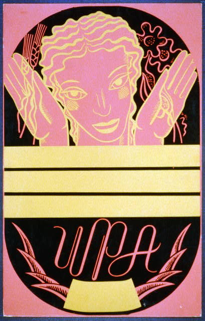 [WPA poster design on red background showing the head and hands of a woman holding flowers and wheat above a blank banner]